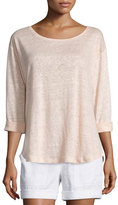 Vince Rolled-Sleeve Draped Linen Tee