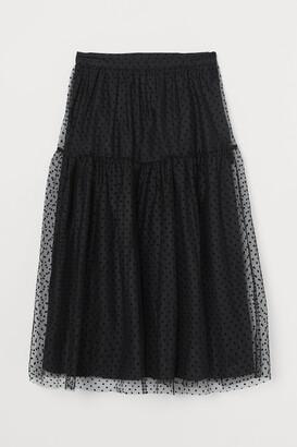 H&M Calf-length mesh skirt