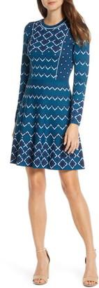 Brinker & Eliza Fit & Flare Long Sleeve Sweater Dress