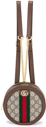Gucci Ophidia GG Round Chain Backpack in Beige Ebony | FWRD