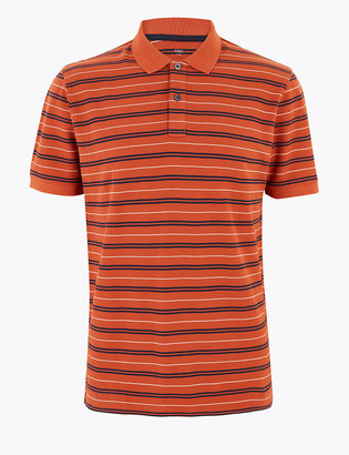 Marks and Spencer Pure Cotton Double Stripe Polo Shirt