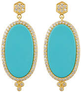 Freida Rothman 14K Gold Plated Sterling Silver CZ Framed Turquoise Slice Earrings