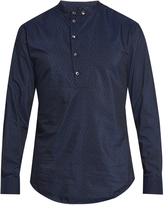 Giorgio Armani Flocked-cotton and silk-blend shirt