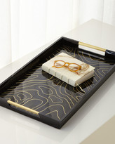 L'OBJET Rectangular Wood and Brass Tray