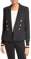 Smythe Women's College Double Breasted Blazer With Detachable Knit Cuffs