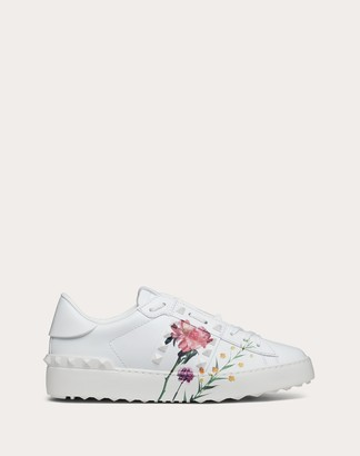 Valentino Rockstud Untitled Sneaker With Flowersity Print Women White/multicolor 100% Pelle Di Vitello - Bos Taurus 36.5