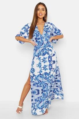 boohoo Petite Plunge Kimono Sleeve Printed Maxi Dress