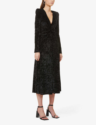 Rotate by Birger Christensen Lily embellished stretch-velvet midi dress