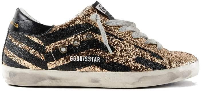 Golden Goose Superstar Glittered Flag Sneakers