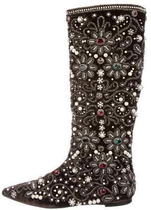 Dolce & Gabbana Baroque Crystal-Embellished Velvet Boots