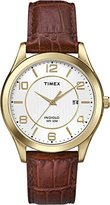 Timex Men's Quartz Watch with White Dial Analogue Display and Brown Leather Strap T2P449