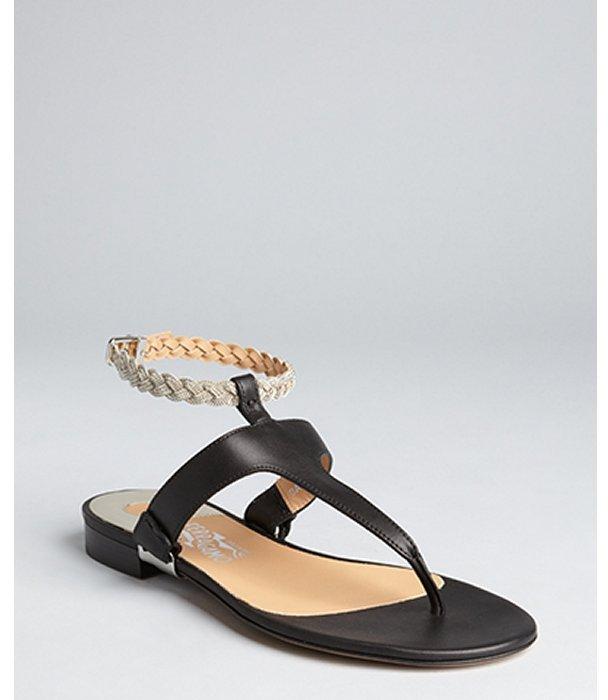Salvatore Ferragamo black leather 'Beccaria' braided chain strap sandals