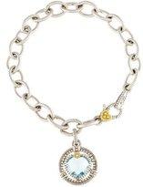 Judith Ripka Two-Tone Synthetic Quartz & Diamond Link Bracelet