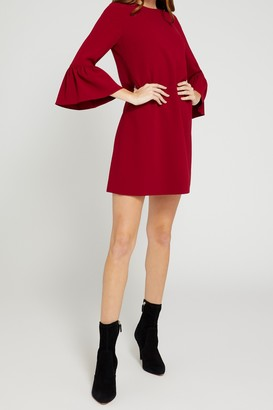 Alice + Olivia Coley Crew Neck Ruffle Sleeve A-Line Dress