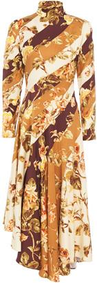 Zimmermann Asymmetric Printed Stretch-silk Twill Midi Dress