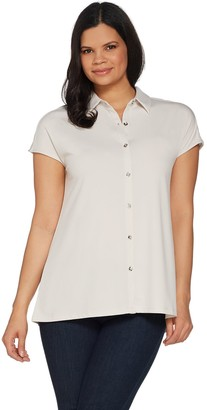 H by Halston Jet Set Jersey Extended Shoulder Tunic with Collar