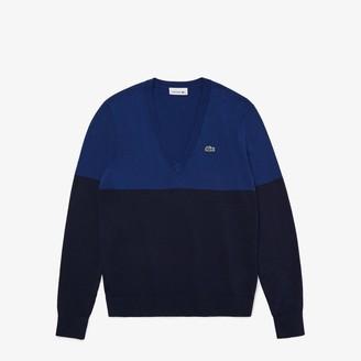 Lacoste Women's Colorblock Cotton V-neck Sweater