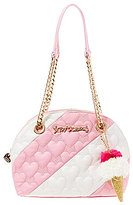 Betsey Johnson Split Decision Heart-Quilted Striped Dome Satchel