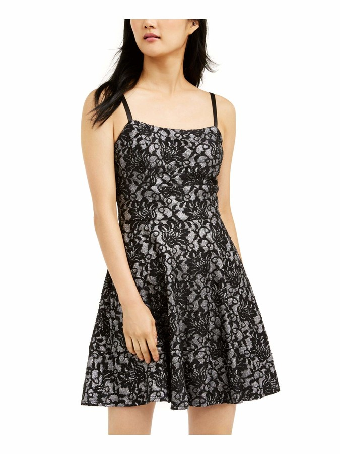Speechless Womens Black Lace Shimmering Spaghetti Strap Square Neck Short Fit + Flare Party Dress Juniors US Size: 3