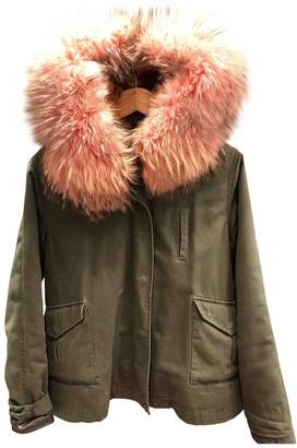 Berenice Khaki Cotton Leather Jacket for Women