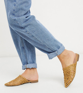 Co Wren Wide Fit pointed flat mules in tan woven