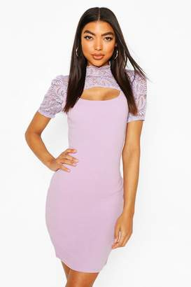 boohoo Tall Mandarin Collar Lace Midi Dress