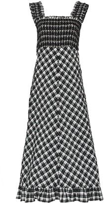 Ganni Seersucker Check Smocked Midi Dress