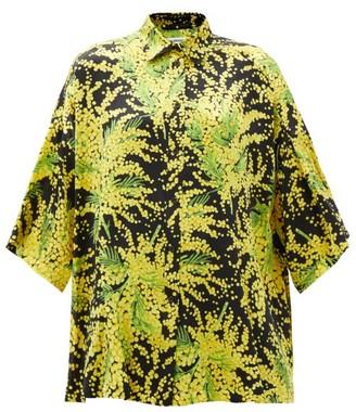 Balenciaga Floral-print Oversized Silk-faille Shirt - Yellow Print
