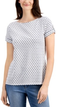 Charter Club Striped Eyelet Top, Created for Macy's