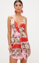 PrettyLittleThing Pink Strappy Wrap Front Chain Print Bodycon Dress