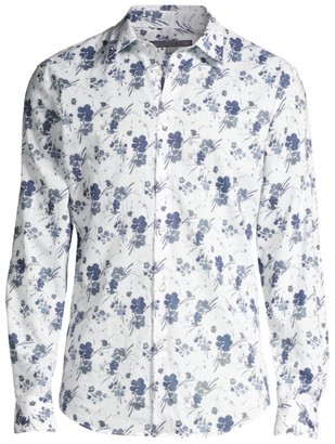 John Varvatos Floral Slim-Fit Cotton Shirt