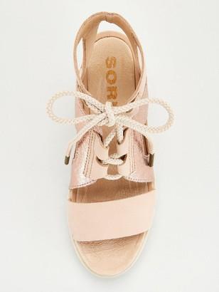 Sorel Joanie II Ankle Lace Leather Wedge Sandal - Tan