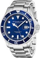Stuhrling Original Men's 417.03 Aquadiver Regatta Espora Swiss Quartz Professional Diver Blue Dial Stainless Steel Bracelet Date Watch