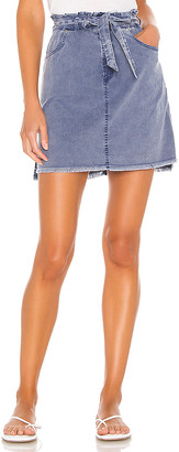 Chaser Stretch Twill Distressed Paperbag Hi Lo Mini Skirt