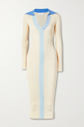 REMAIN Birger Christensen Joy Ribbed-knit Midi Dress - Cream