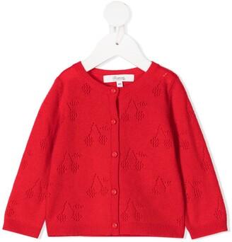 Bonpoint Cherry-Pattern Cardigan