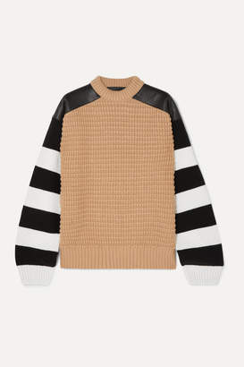 Haider Ackermann Leather-paneled Striped Fleece Wool And Cashmere-blend Sweater - Camel