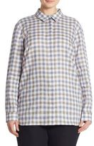 Lafayette 148 New York, Plus Size Brody Gingham Linen Blouse