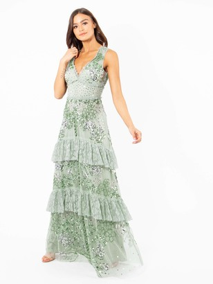 Maya Deluxe Women's Maya Green Lily Embellished Tiered Maxi Dress Bridesmaid 8