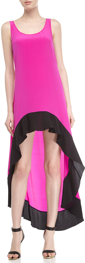 Jay Godfrey High-Low 2-Tone Silk Maxi Dress, Shocking Pink/Black