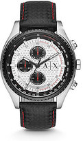 Armani Exchange Active Leather Strap Stainless Steel Chronograph Watch