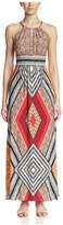London Times Women's Sleeveless Keyhole Halter Maxi