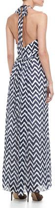 Milly Gustavia Zigzag-Print Halter Dress