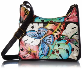 Anna by Anuschka Women's Genuine Leather Medium Cross Body Hobo | Hand Painted Original Artwork | Lovely Leaves One Size