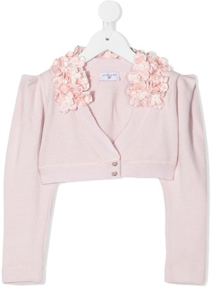 MonnaLisa Floral Applique Detail Cropped Cardigan