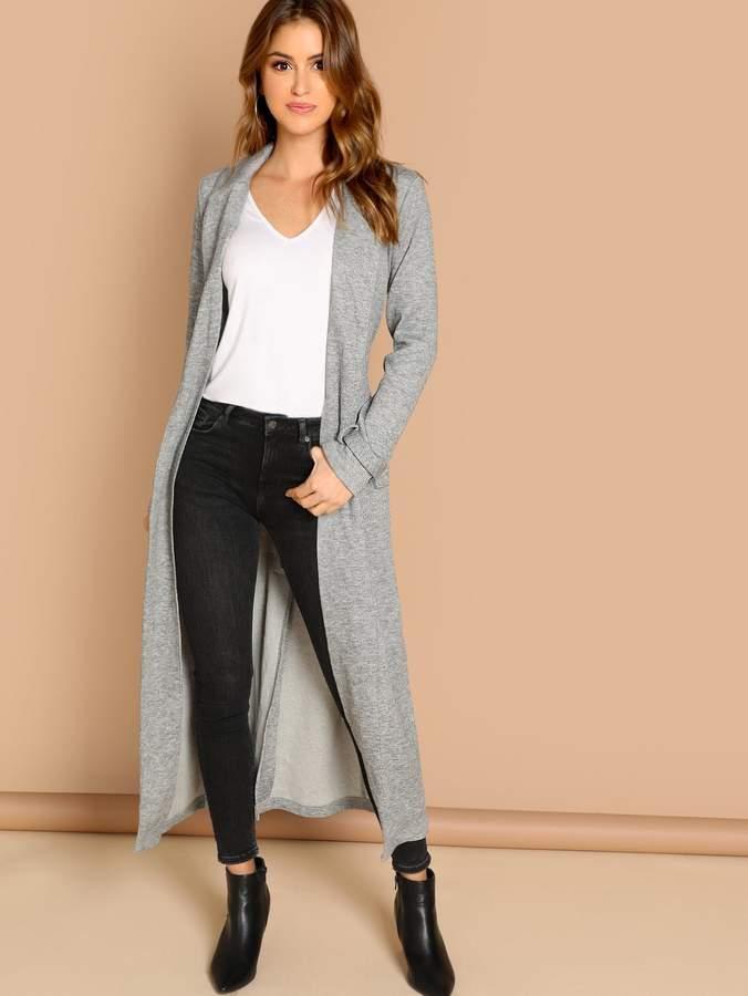 Pocket Patched Open Front Longline Coat