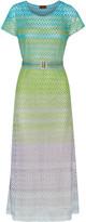 Missoni Belted metallic crochet-knit maxi dress