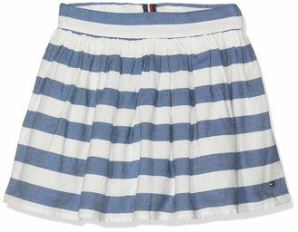 Tommy Hilfiger Girl's Iconic Chambray Stripe Skirt White (Blue /Bright White 123) 104 (Size: 4)