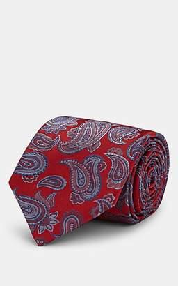 Brioni Men's Paisley Silk Jacquard Necktie - Red