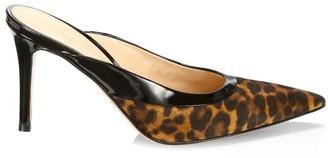 Gianvito Rossi Leopard-Print Leather Mules